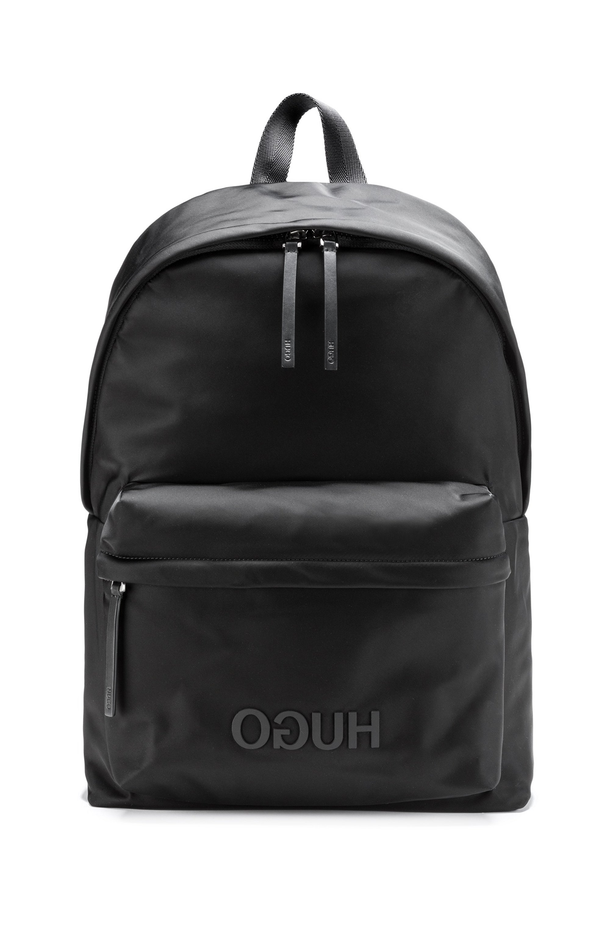 Reverse-logo backpack in structured nylon with top handle, Black
