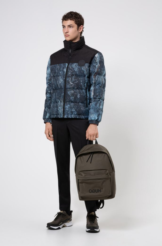 Reverse-logo backpack in structured nylon with top handle
