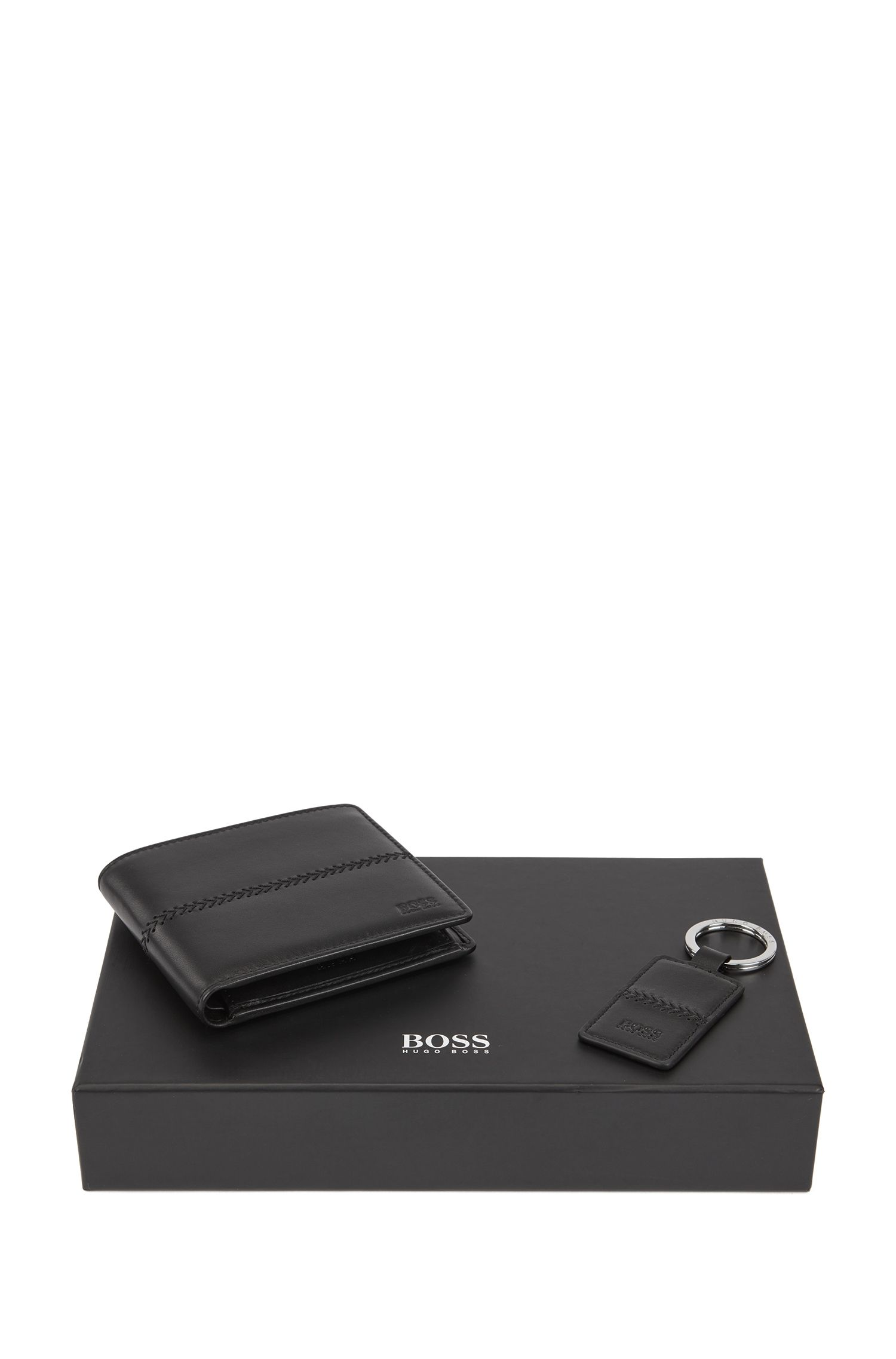 Gift-boxed wallet and key ring in leather with stitching detail, Black