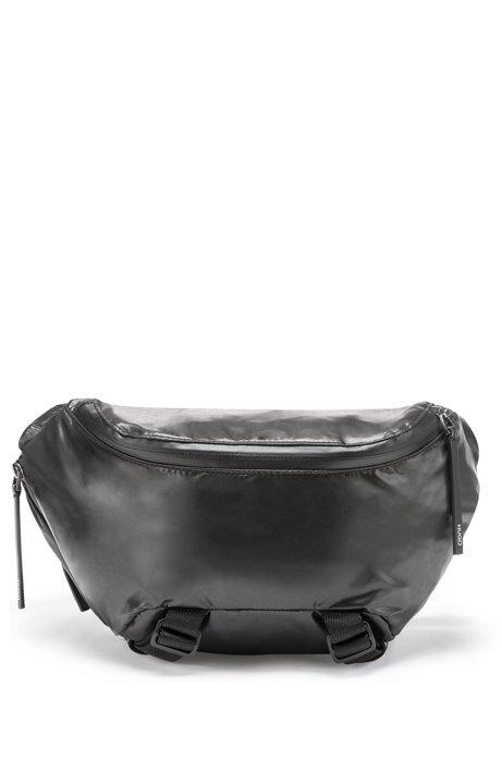 Leichte Gürteltasche aus Nylon mit abnehmbarer Pochette, Schwarz
