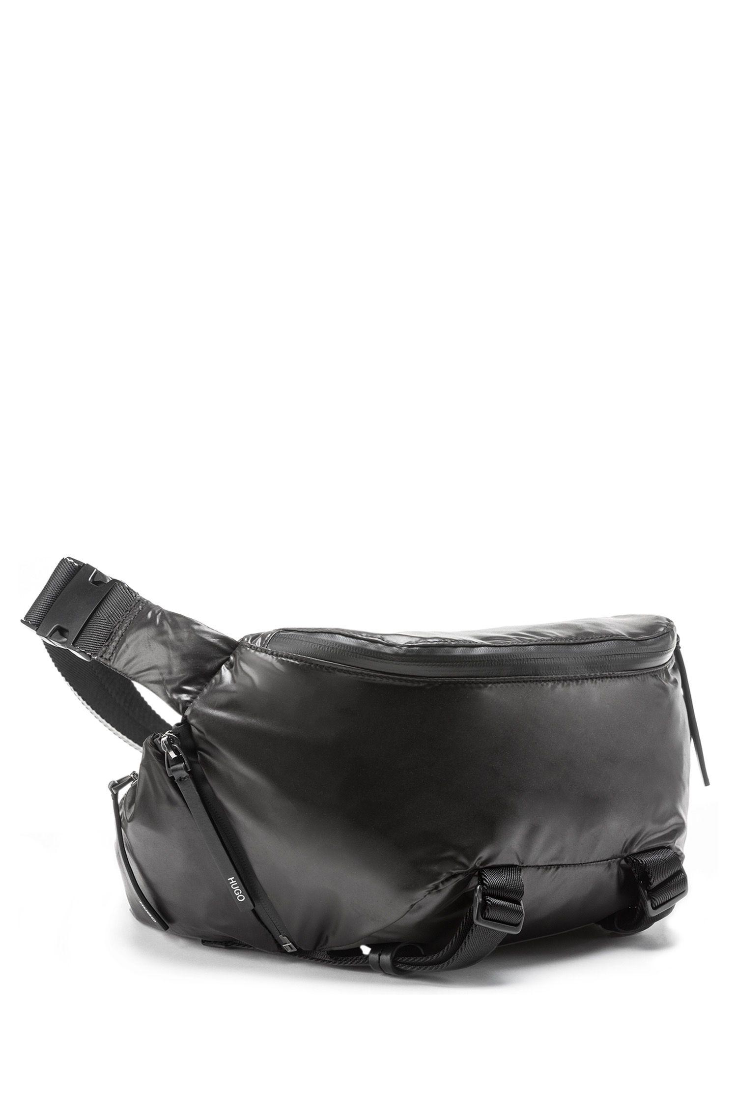 Lightweight belt bag in nylon with detachable pochette, Black
