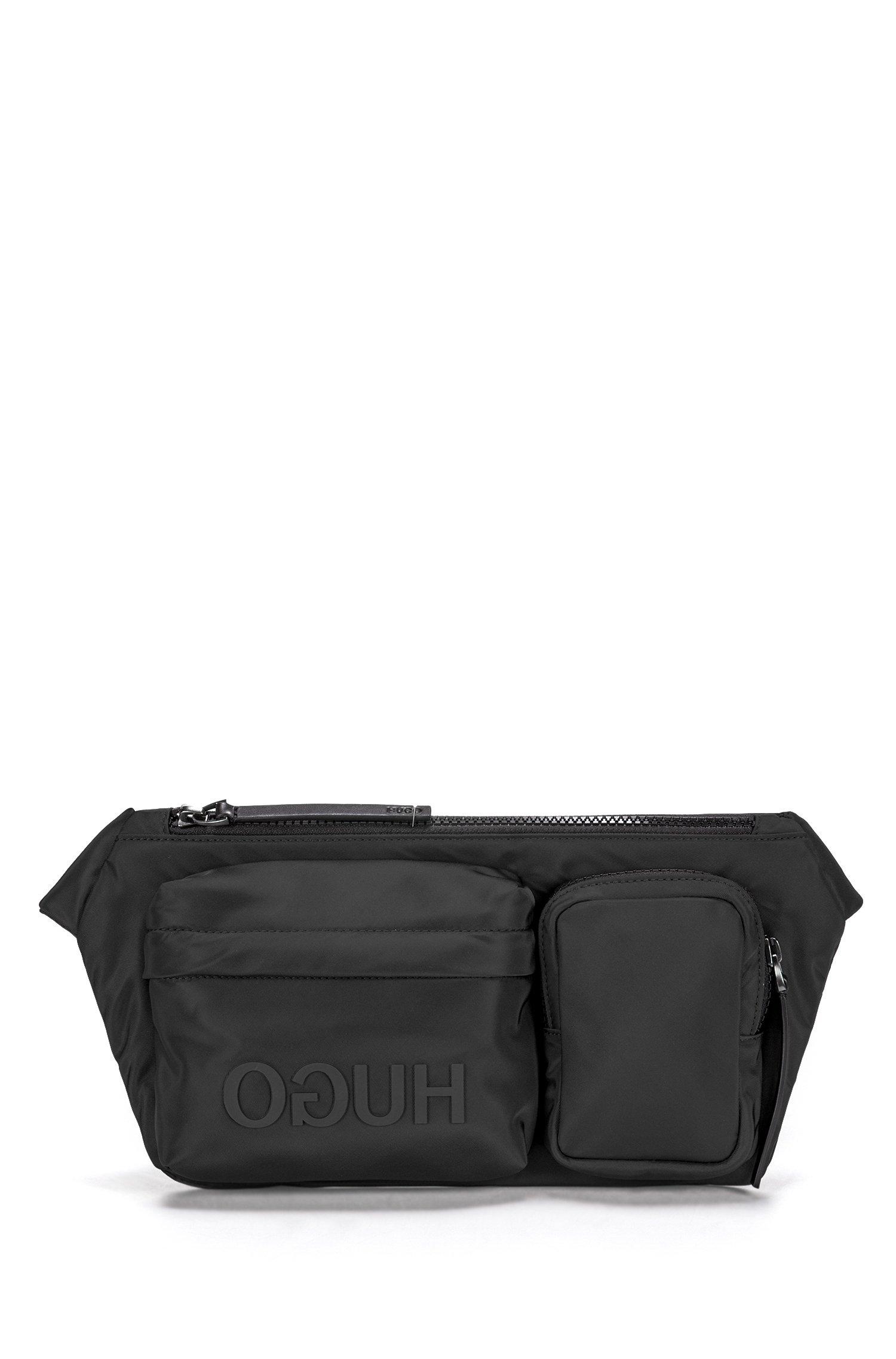 Reverse-logo multi-pocket belt bag in nylon gabardine, Black