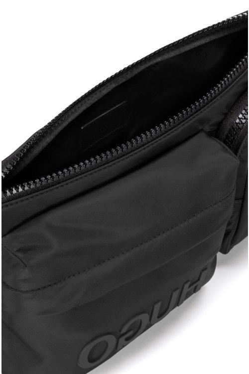 Hugo Boss - Riñonera de tejido de gabardina de nylon con logo invertido y varios bolsillos - 5
