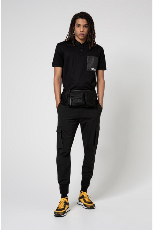 Hugo Boss - Riñonera de tejido de gabardina de nylon con logo invertido y varios bolsillos - 2