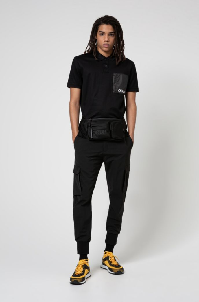 Reverse-logo multi-pocket belt bag in nylon gabardine