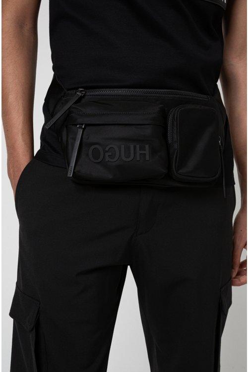 Hugo Boss - Riñonera de tejido de gabardina de nylon con logo invertido y varios bolsillos - 3