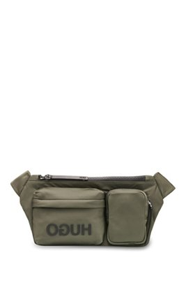 Reverse-logo multi-pocket belt bag in nylon gabardine, Dark Green