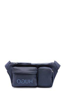 Reverse-logo multi-pocket belt bag in nylon gabardine, Dark Blue