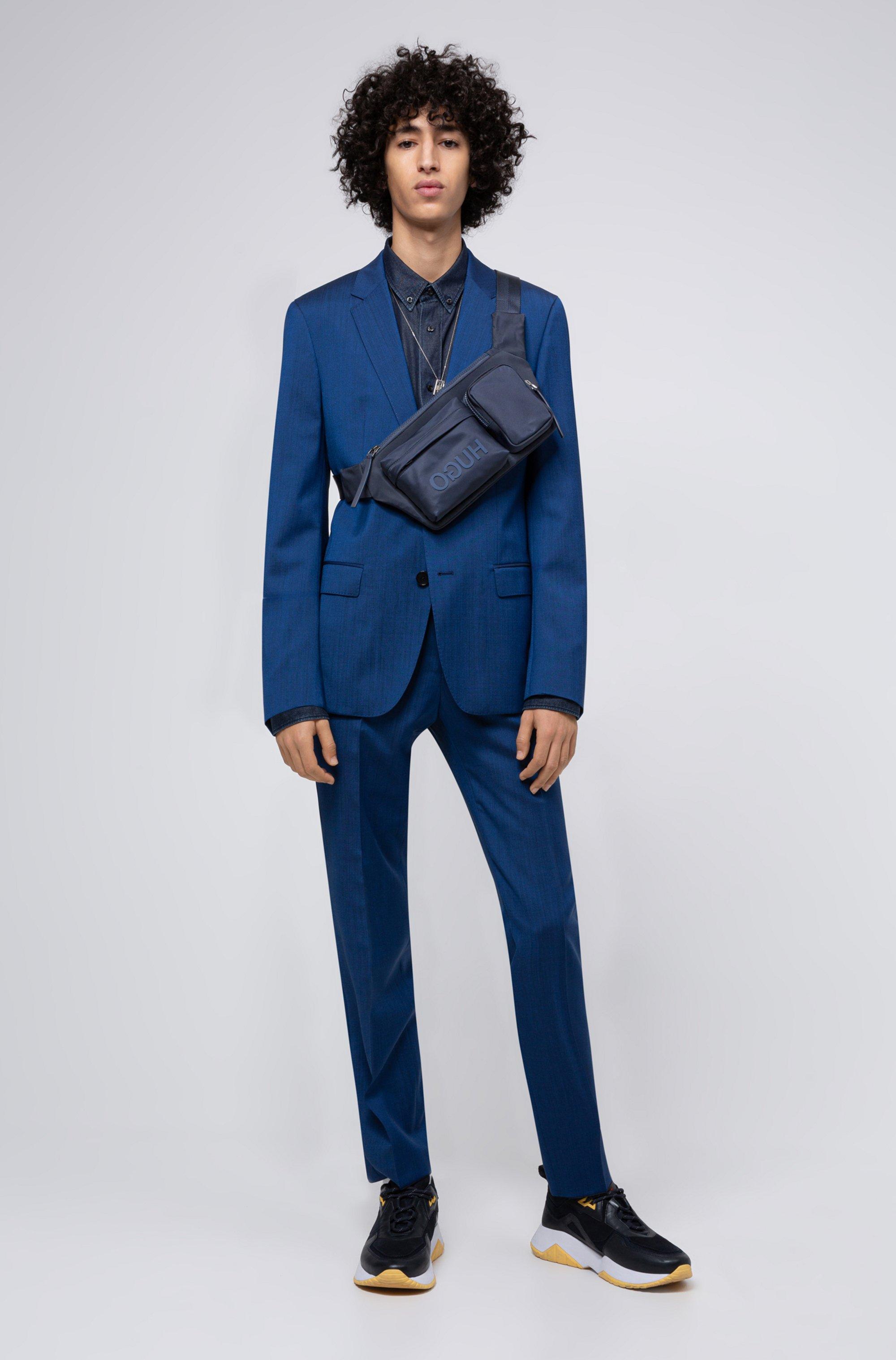Reverse-logo multi-pocket belt bag in nylon gabardine