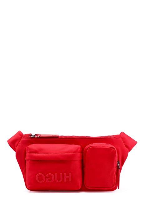 Sac ceinture multi-poches en gabardine de nylon, à logo inversé, Rouge