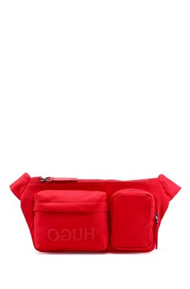 Reverse-logo multi-pocket belt bag in nylon gabardine, Red