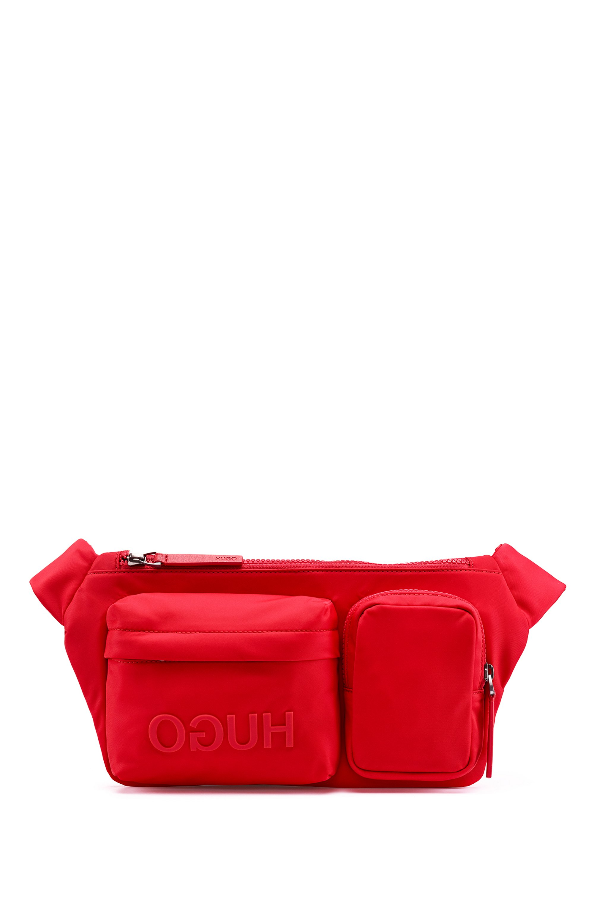 Reverse-logo multi-pocket belt bag in nylon gabardine, Red