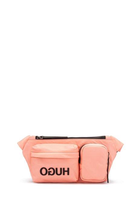 Reverse-logo multi-pocket belt bag in nylon gabardine, Pink