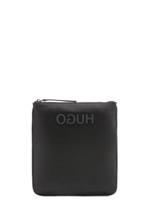 Hugo Boss - Umhängetasche aus Nylon-Gabardine mit spiegelverkehrtem Logo - 1