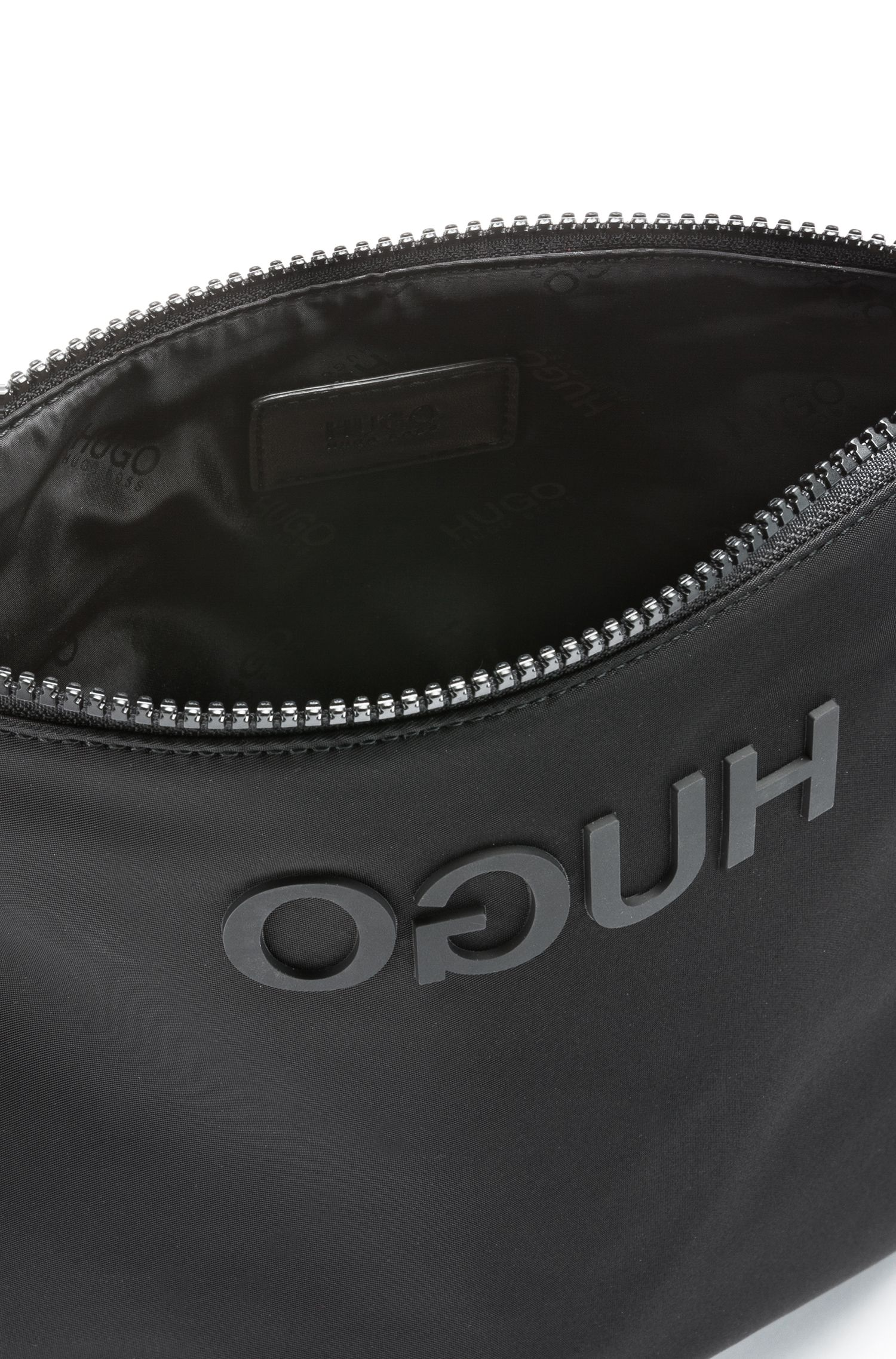 Envelope bag in nylon gabardine with reverse-printed logo, Black