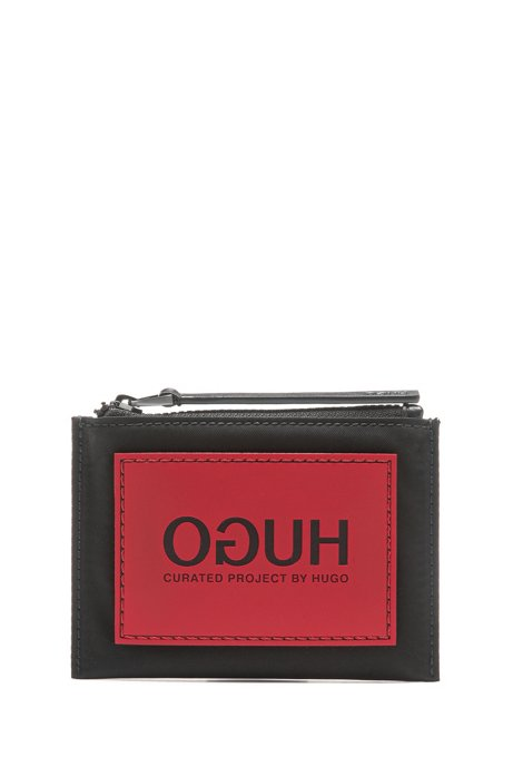 Unisex coin case with reverse-logo patch, Black