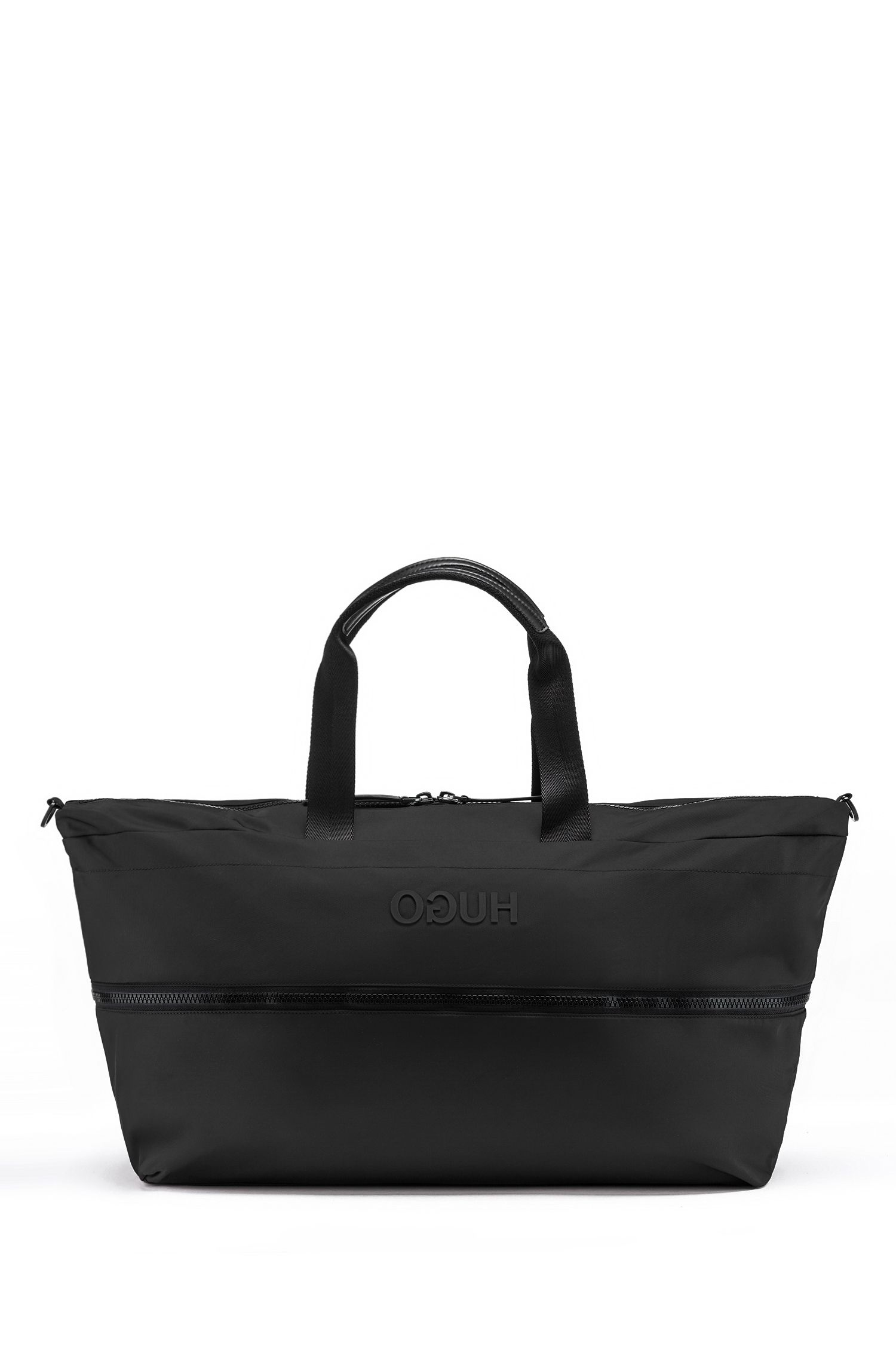 Expandable holdall in nylon gabardine with reversed logo, Black