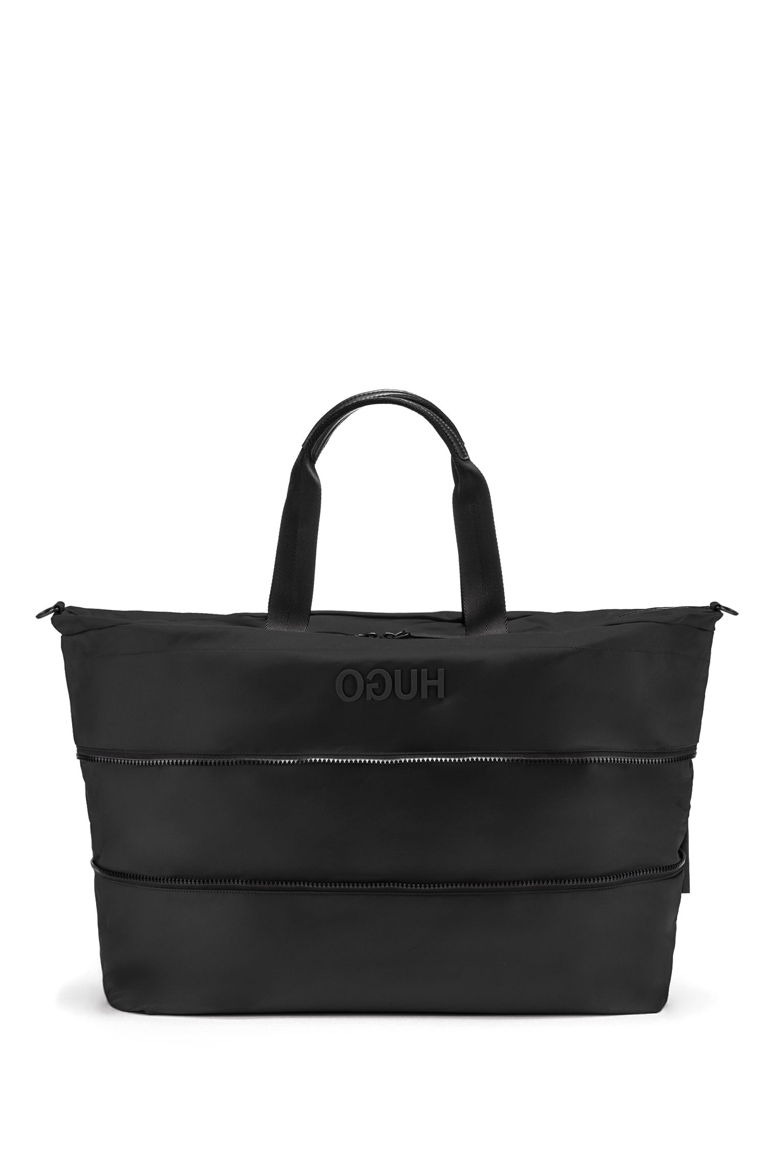 Hugo Boss - Amplio bolso weekender extensible en tejido de gabardina de nylon con logo invertido - 3