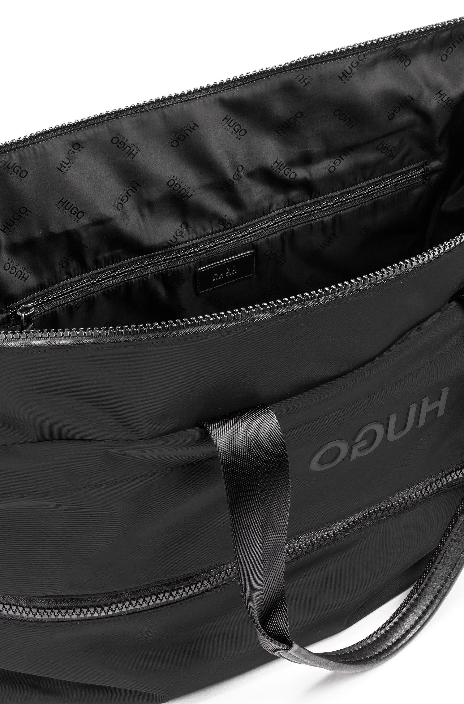 Hugo Boss - Amplio bolso weekender extensible en tejido de gabardina de nylon con logo invertido - 4
