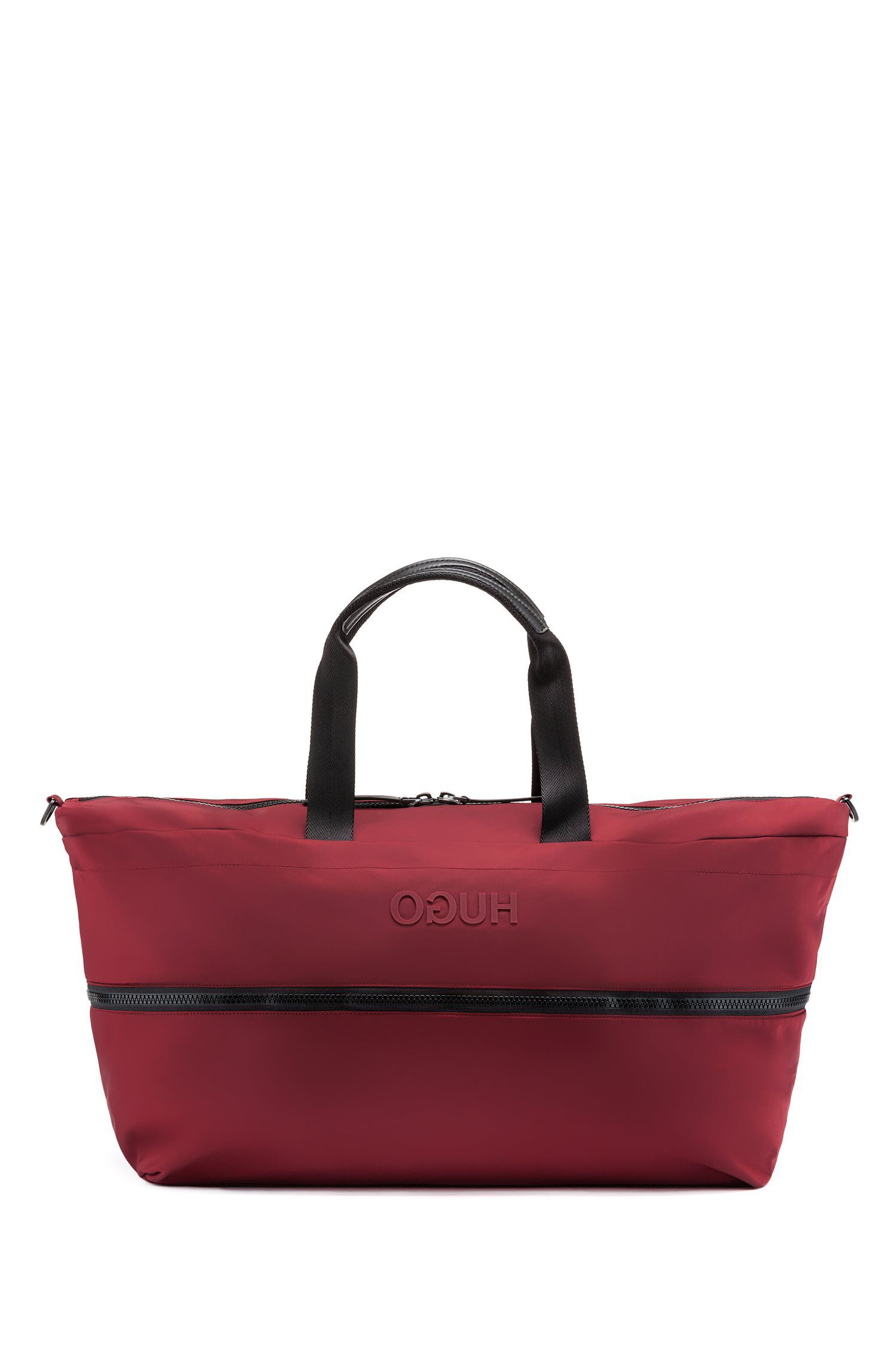 Expandable holdall in nylon gabardine with reversed logo, Dark Red