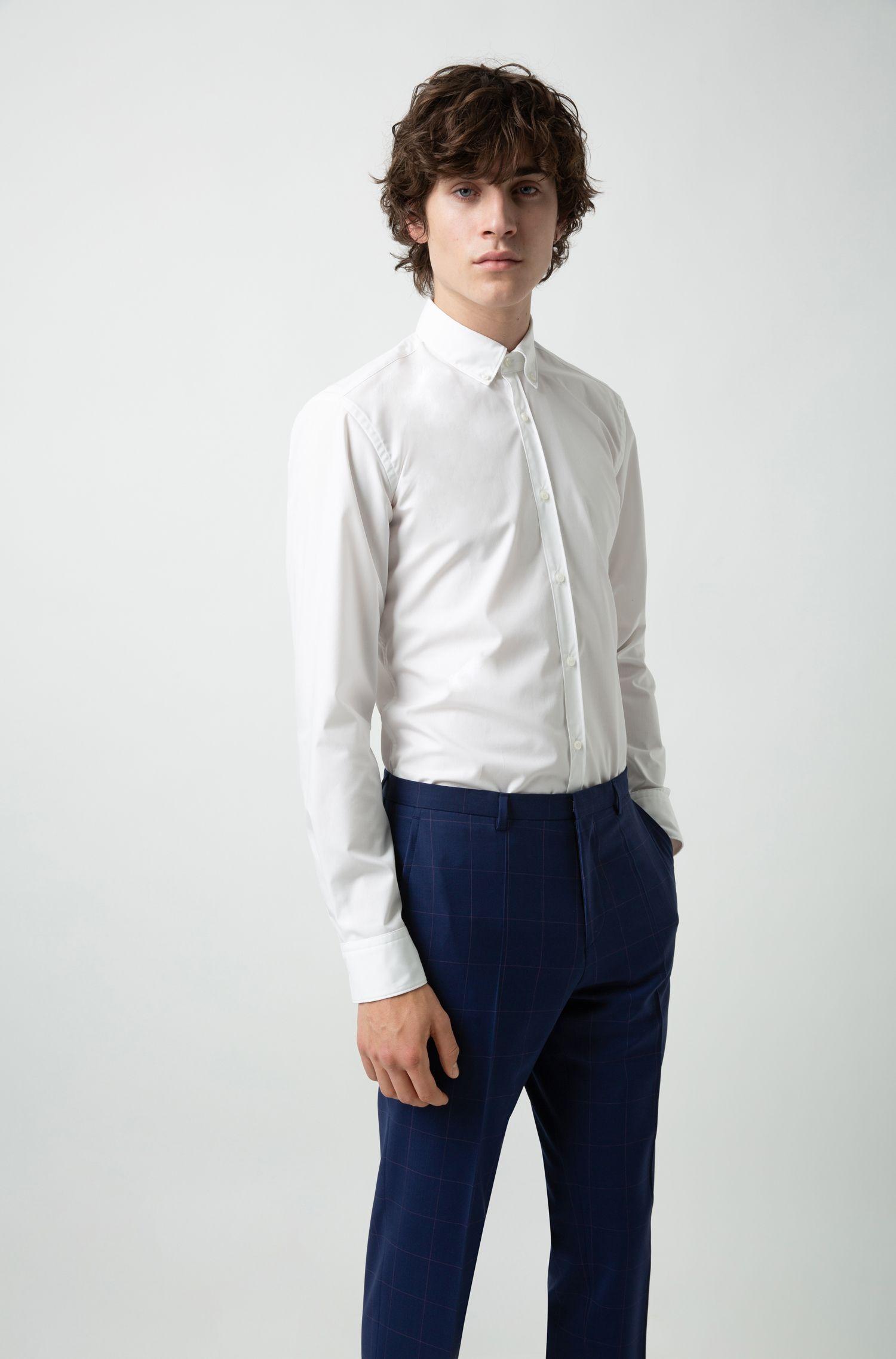 Pantaloni extra slim fit in lana vergine a quadri, A disegni