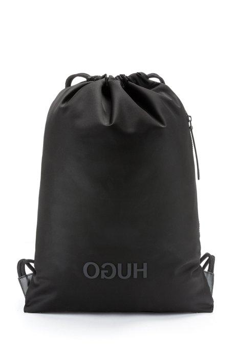 Rucksack aus Nylon-Gabardine mit Tunnelzug und Reversed-Logo, Schwarz