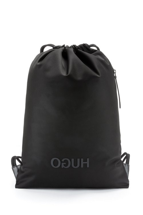 Hugo Boss - Drawstring backpack in nylon gabardine with reverse-logo print - 1