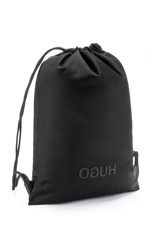Hugo Boss - Drawstring backpack in nylon gabardine with reverse-logo print - 3