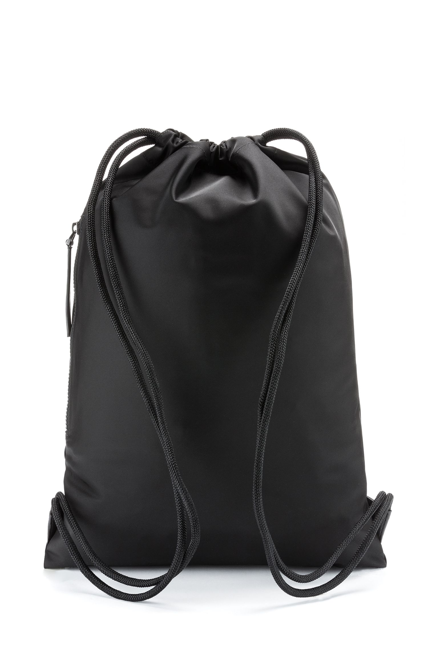 Drawstring backpack in nylon gabardine with reverse-logo print, Black