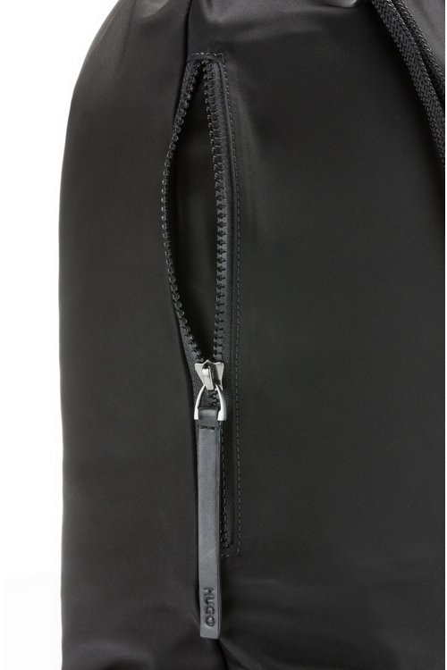 Hugo Boss - Drawstring backpack in nylon gabardine with reverse-logo print - 4