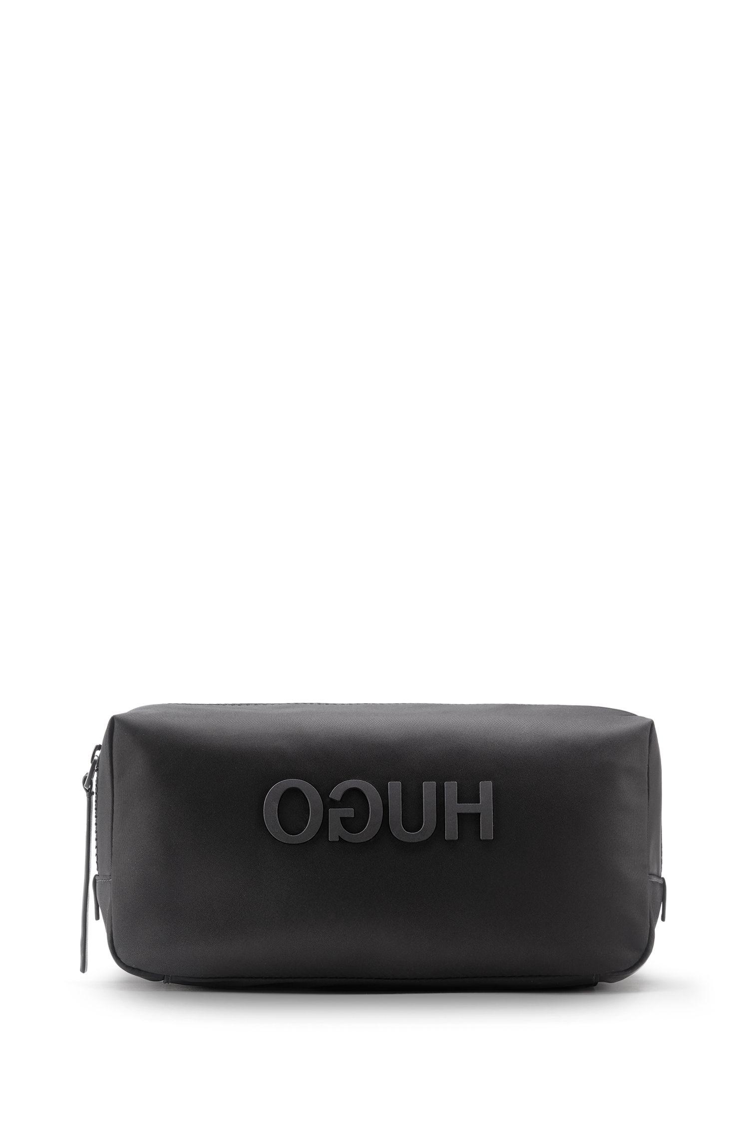 Trousse de toilette zippée en gabardine de nylon, avec logo inversé imprimé, Noir