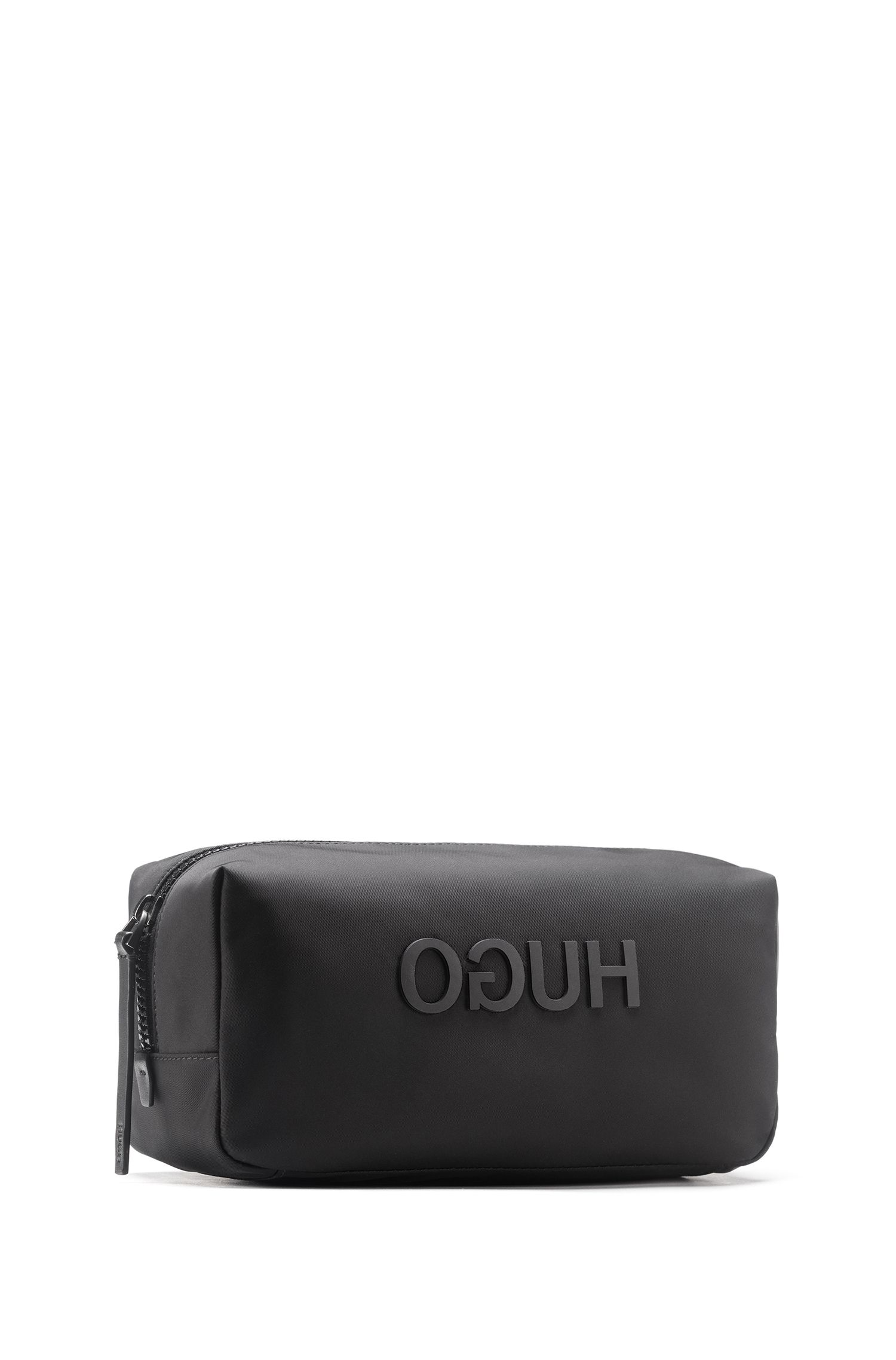 Hugo Boss - Zipped washbag in nylon gabardine with printed reverse logo - 2