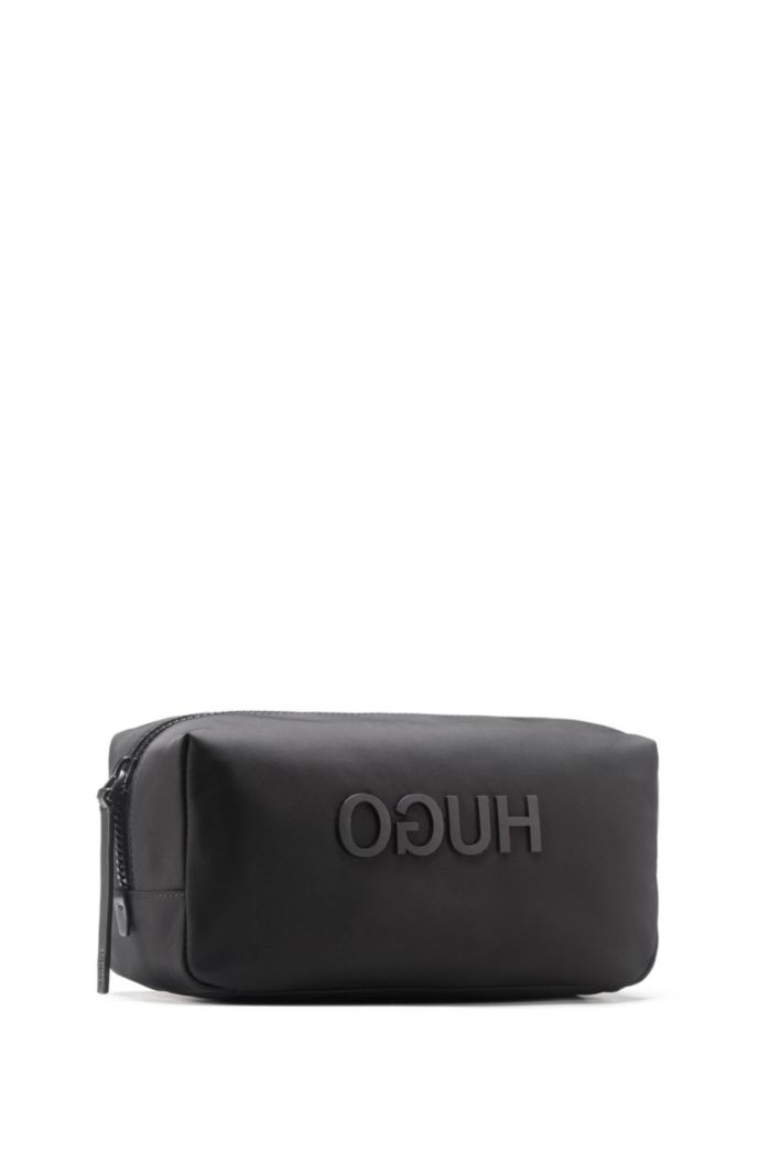 Zipped washbag in nylon gabardine with printed reverse logo