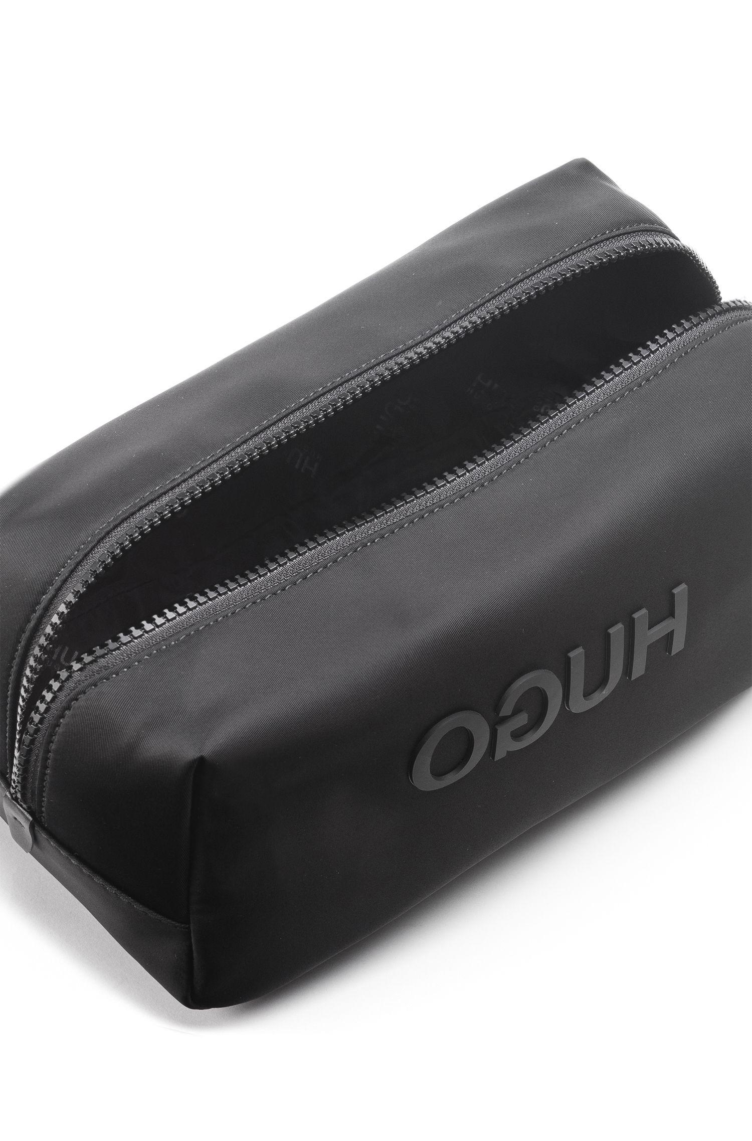 Hugo Boss - Zipped washbag in nylon gabardine with printed reverse logo - 3