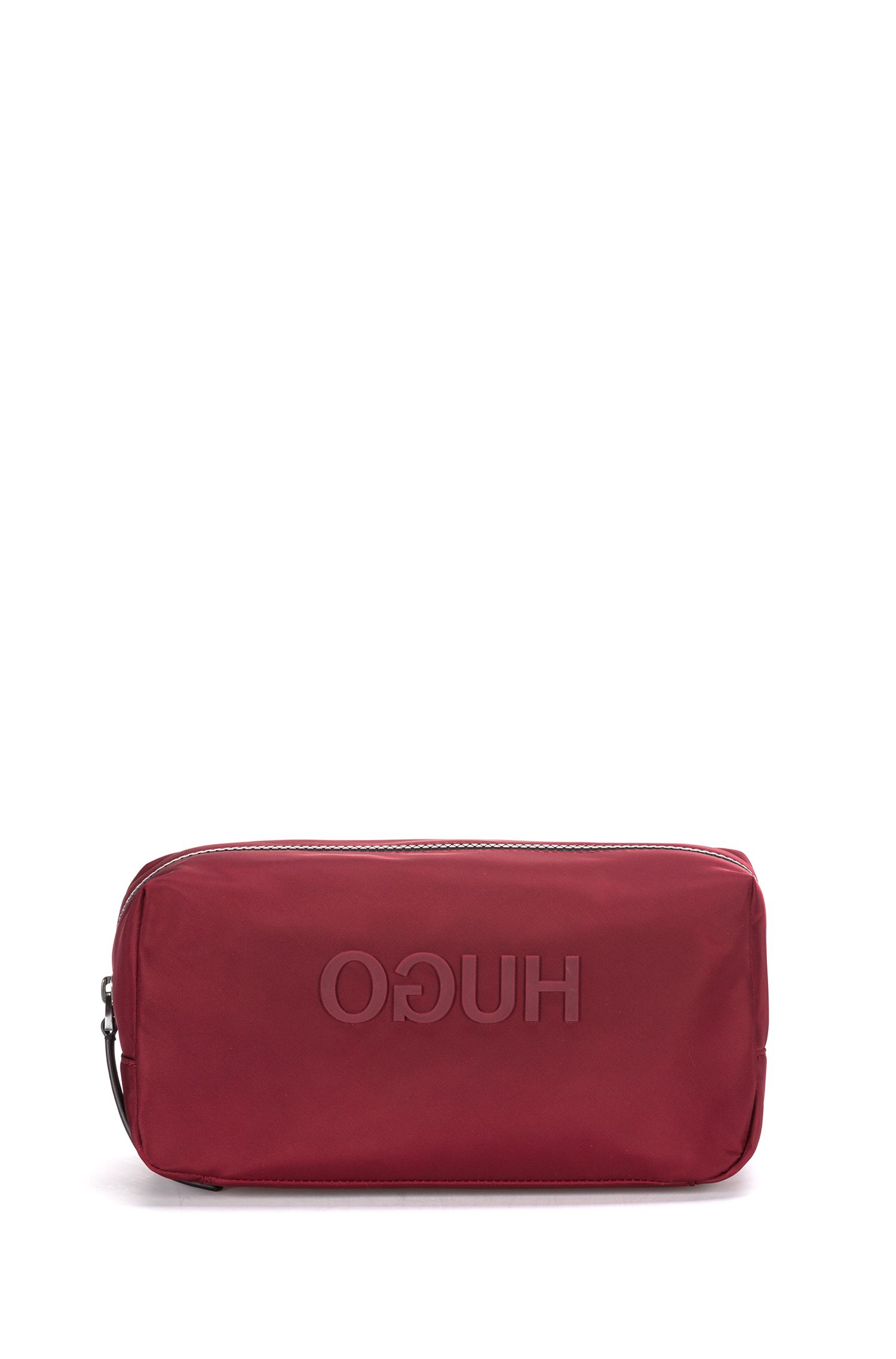 Zipped washbag in nylon gabardine with printed reverse logo, Dark Red