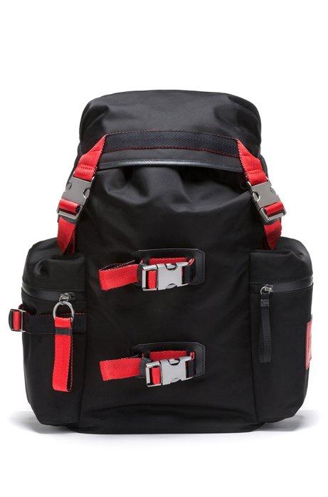 Unisex drawstring backpack in nylon gabardine with leather trims, Black