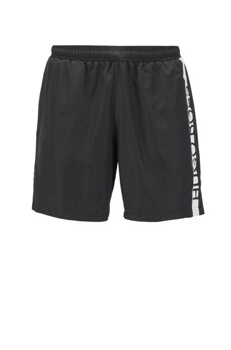 Quick-dry swim shorts with cropped logo, Black