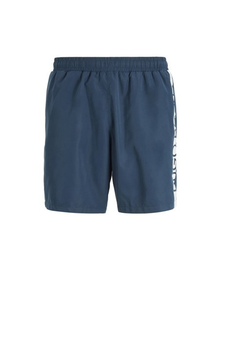 Quick-dry swim shorts with cropped logo, Dark Blue