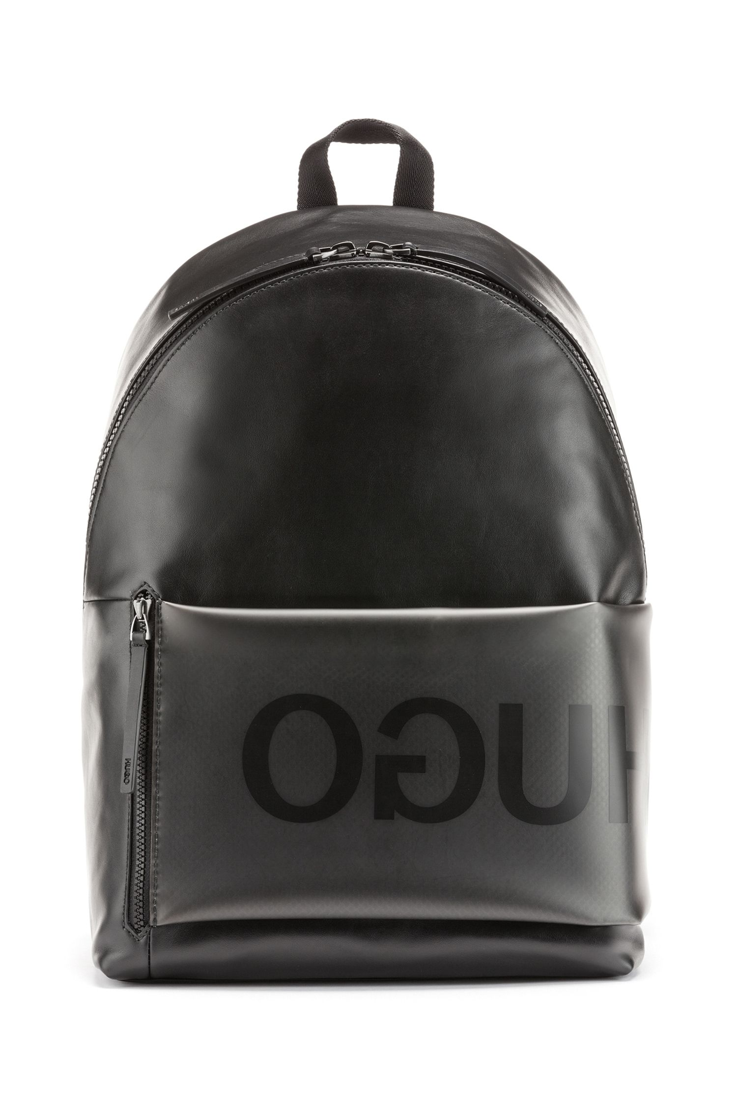 Italian-leather backpack with smoke-effect front pocket, Transparent