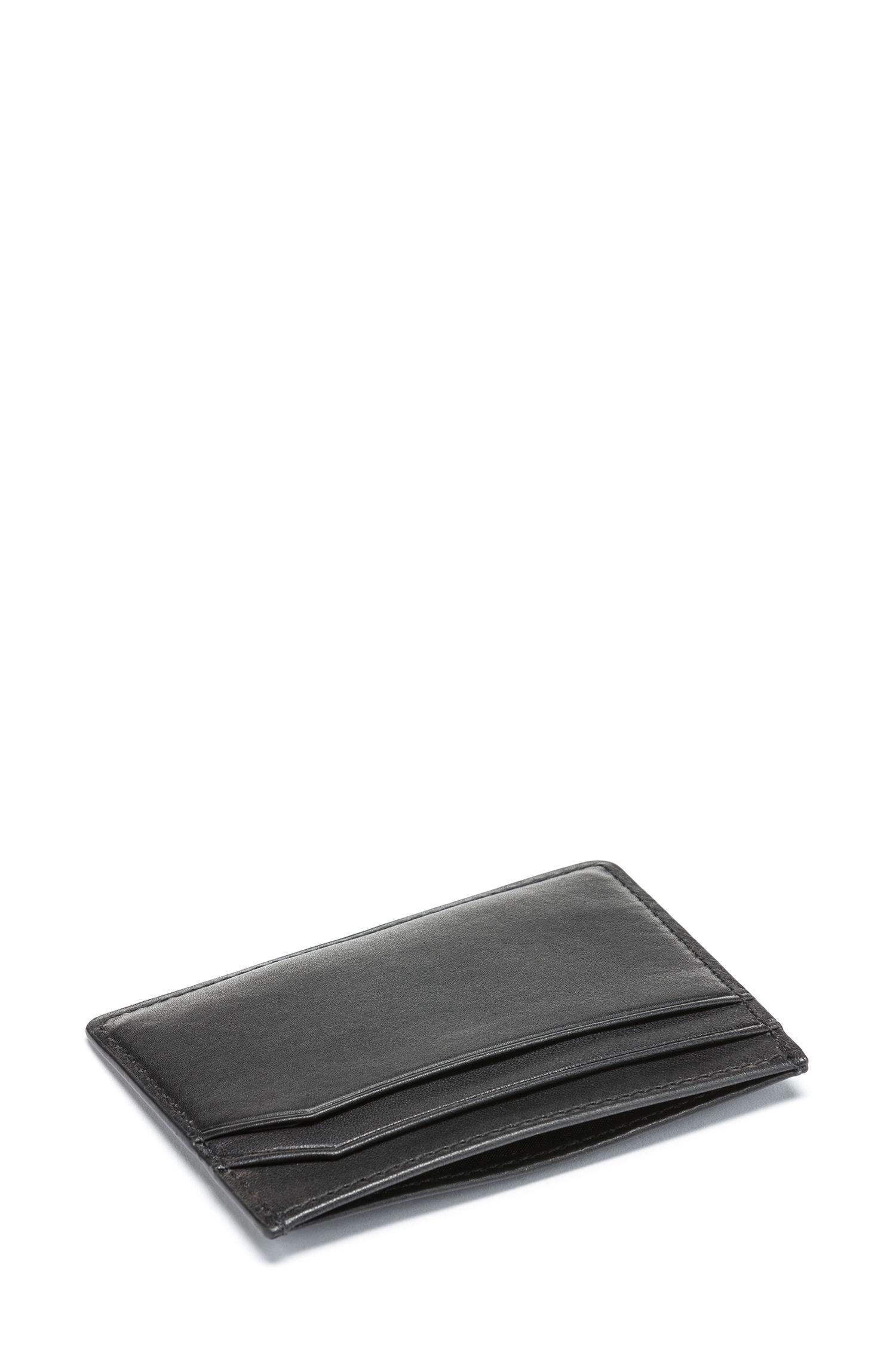 Geschenk-Set mit Geldbörse und Kartenetui aus Glattleder, Schwarz