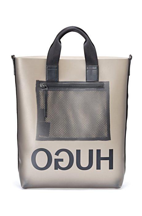 Tote Bag aus semi-transparentem Material-Mix mit spiegelverkehrtem Logo, Transparent