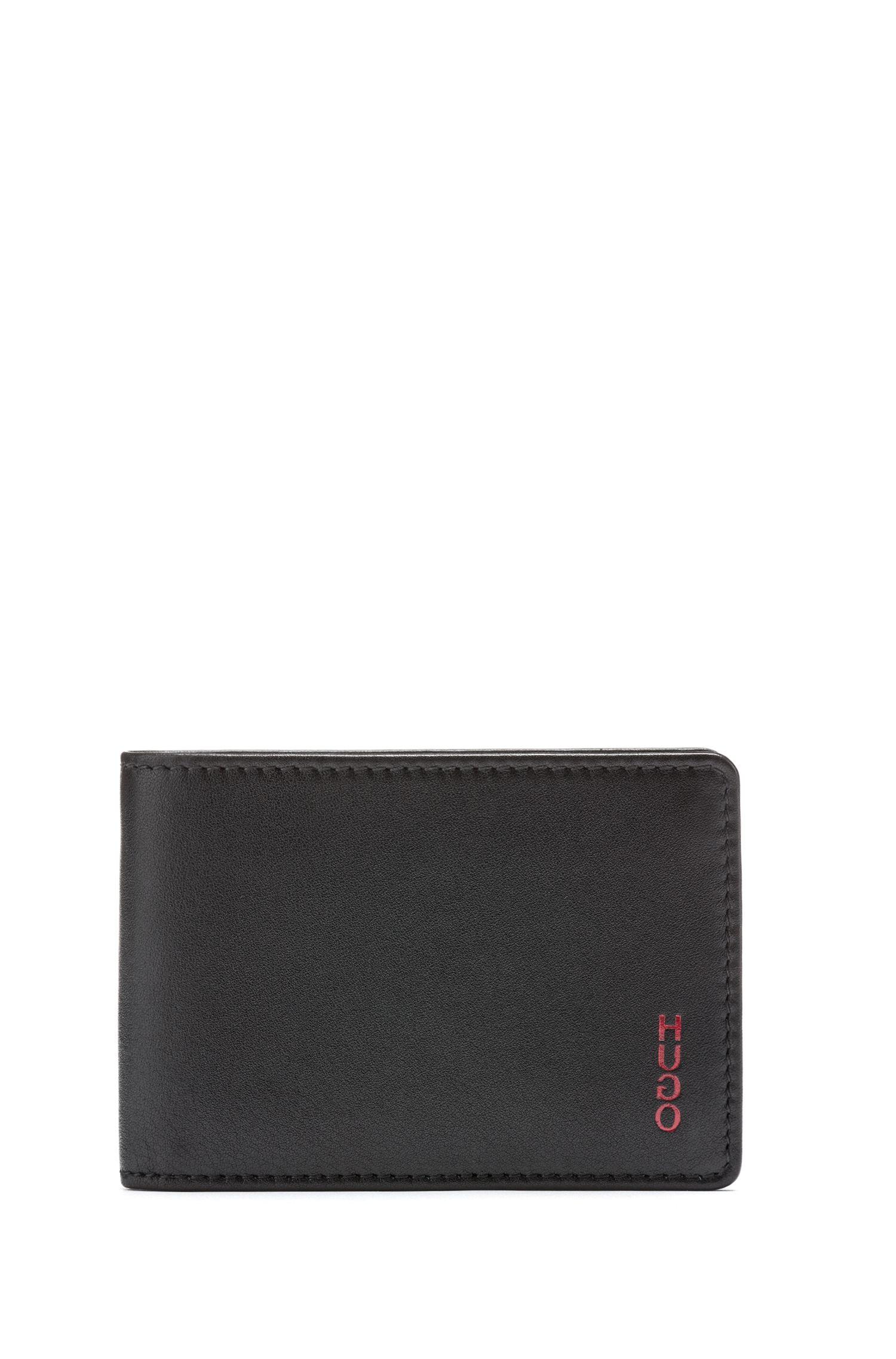 Portafoglio bi-fold in nappa con logo reversed, Nero