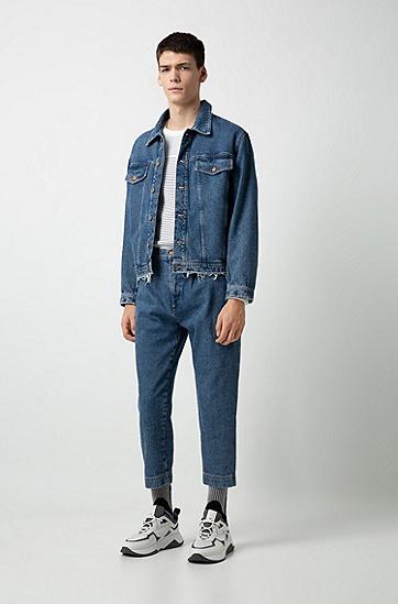 男士纯色牛仔休闲夹克外套,  420_中蓝色