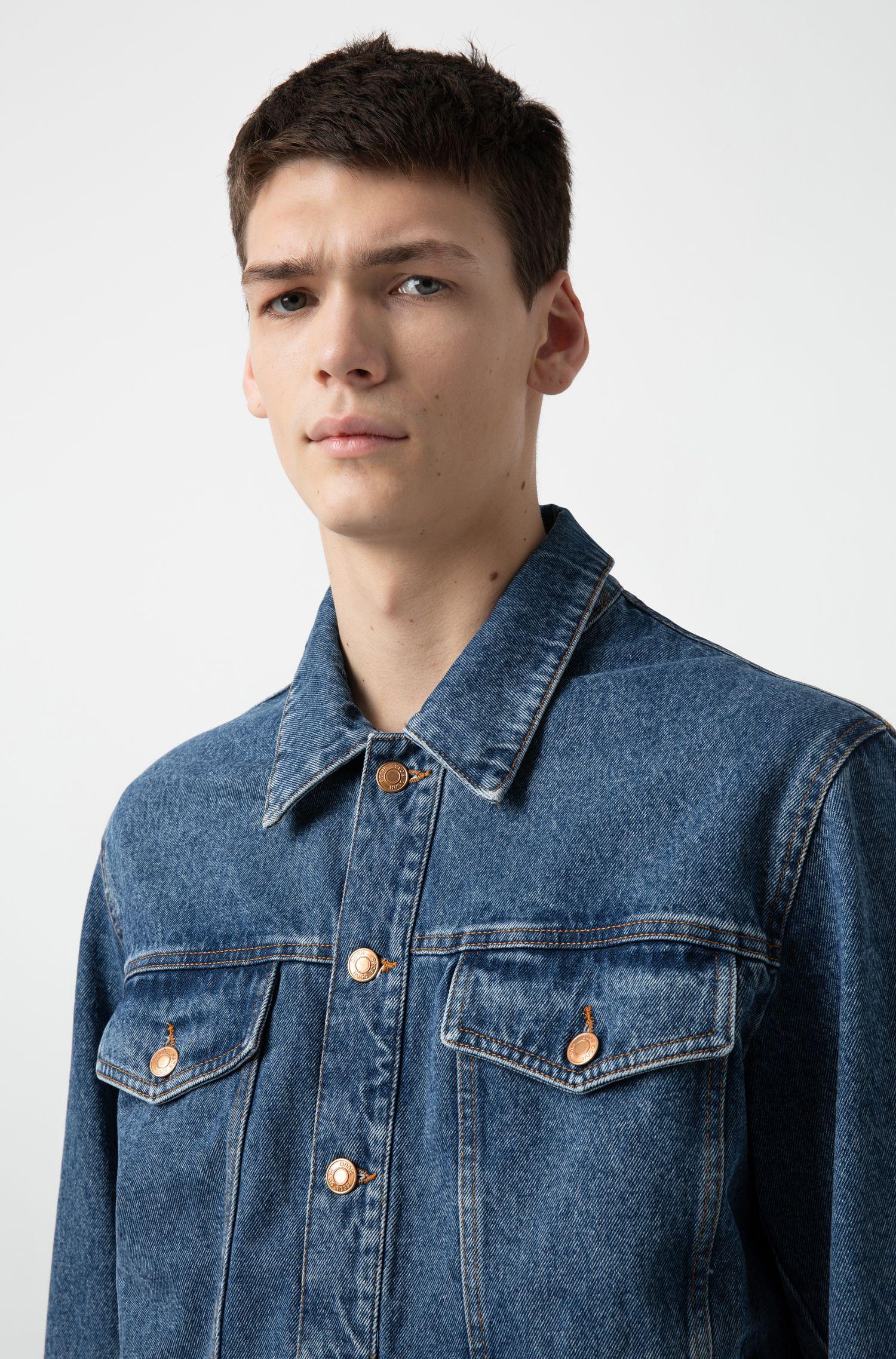 Jeansjacke aus Baumwolle mit unversäuberten Säumen, Blau