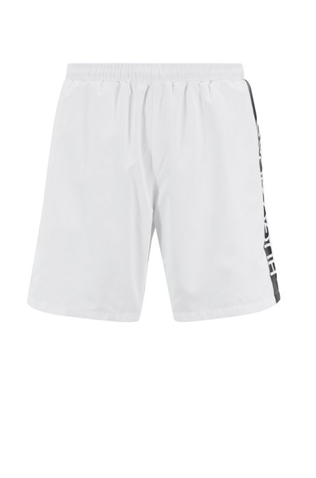 0b82082d1 Medium-length swim shorts with heat-sealed logo print, Natural