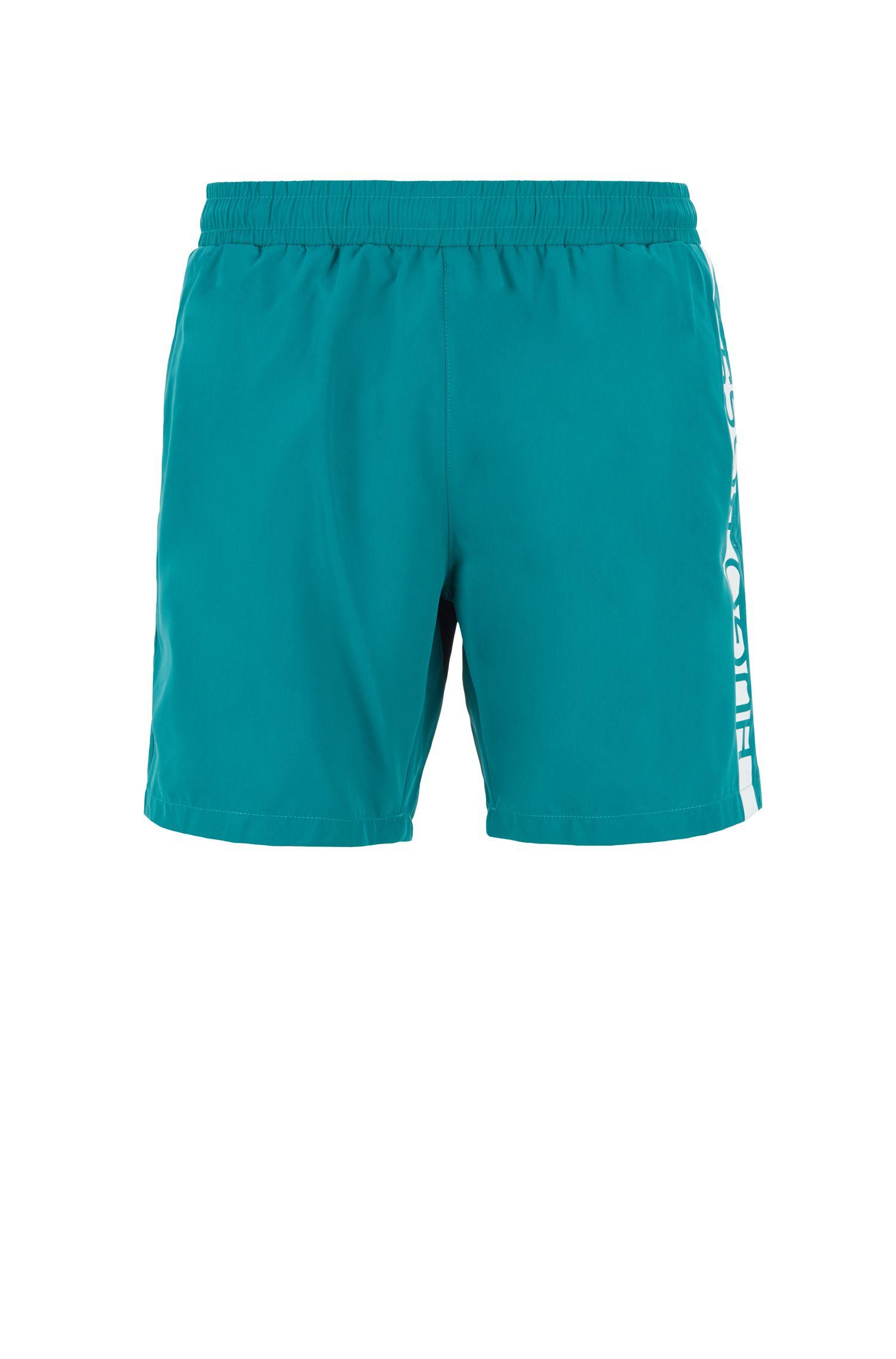 Short de bain longueur au-dessus du genou à logo imprimé thermocollé, Vert sombre