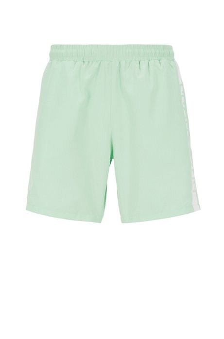 Medium-length swim shorts with heat-sealed logo print, Light Green