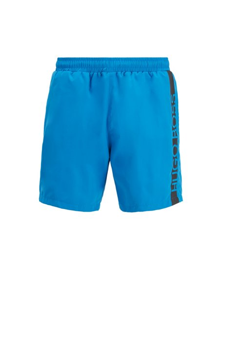 Medium-length swim shorts with heat-sealed logo print, Blue