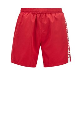 Medium-length swim shorts with heat-sealed logo print, Red
