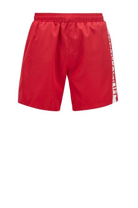 Boxer da bagno di lunghezza media con logo stampato a caldo, Rosso
